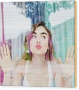 Lily Collins Wood Print