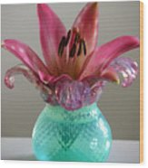 Lily In Antique Vase Wood Print