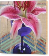Lily On A Painted Table Wood Print