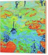 Lily Pads And Koi 20 Wood Print