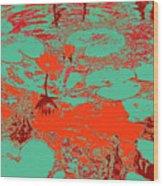 Lily Pads And Koi 35 Wood Print