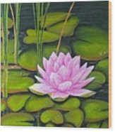 Lily Pond And Pink Wood Print