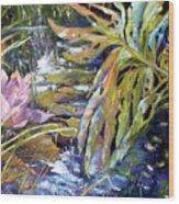 Lily Pond Light Dance Wood Print