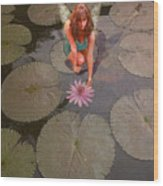 Lilypad Fairy Wood Print by Patricia Ridlon