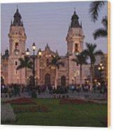Lima Cathedral At Night Wood Print