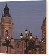 Lima Cathedral Twin Towers One Wood Print