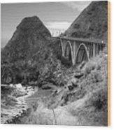 Lime Creek Bridge Highway 1 Big Sur Ca B And W Wood Print