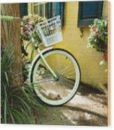 Lime Green Bike Wood Print