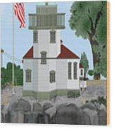 Lime Kiln Light On San Juan Island Wood Print