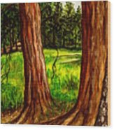 Lime Meadow Wood Print
