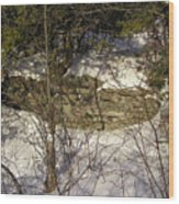 Limestone And Snow Wood Print by Richard Mitchell
