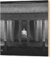 Lincoln At Night Bw Wood Print