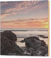 Lincoln City Beach Sunset - Oregon Coast Wood Print