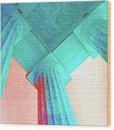 Lincoln Column Blue Wood Print