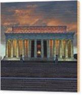 Lincoln Memorial At Dusk Wood Print