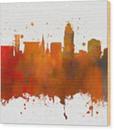 Lincoln Nebraska Colorful Skyline Wood Print