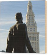 Lincoln Statue And Terminal Tower Wood Print