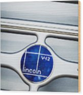 Lincoln V12 Emblem Wood Print