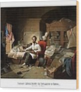 Lincoln Writing The Emancipation Proclamation Wood Print