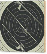 Line Art Rifle Range Wood Print