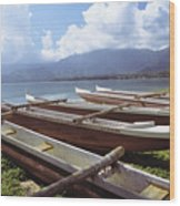 Line Of Outrigger Canoes Wood Print by Joss - Printscapes