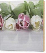 Line Of Tulips Wood Print