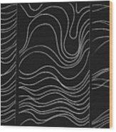 Lines 1-2-3 White On Black Wood Print