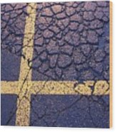 Lines On Asphalt I Wood Print