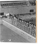 Lineup Of Ncaa Men Swimmers Wood Print