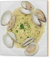 Linguine With Clams Wood Print