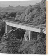 Linn Cove Viaduct Black And White Wood Print