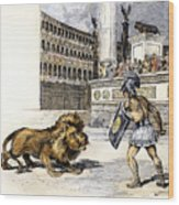Lion & Gladiator Wood Print