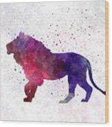 Lion 01 In Watercolor Wood Print