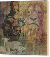 Lion And Lamb Collage Wood Print