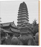 Lion And Pagoda Wood Print