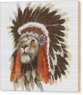 Lion Chief Wood Print