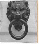 Lion Door Knocker In Brussels Wood Print