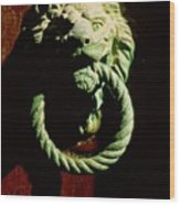 Lion Door Knocker In Venice Wood Print