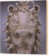 Lion Face Jug Wood Print