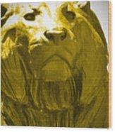 Lion Gold Wood Print