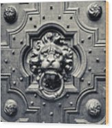 Lion Head Door Knocker Wood Print by Adam Romanowicz