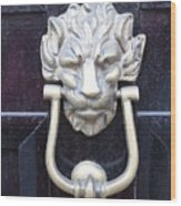 Lion Head Door Knocker Wood Print