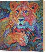 Lion In Burst Wood Print