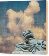 Lion In The Clouds Wood Print