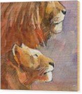 Lion, Lioness Wood Print