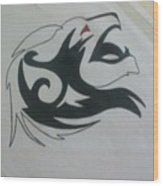 Lion Sketch Wood Print