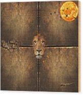 Lion Sun Wood Print