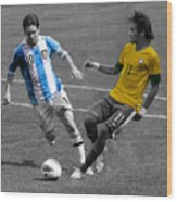 Lionel Messi And Neymar Clash Of The Titans At Metlife Stadium  Wood Print by Lee Dos Santos