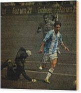 Lionel Messi Breaking Raphael Cabrals Ankles  Wood Print