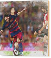 Lionel Messi  Fights For The Ball Wood Print
